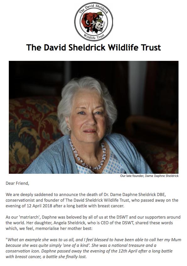 Dr. Dame Daphne Sheldrick DBE Obituary