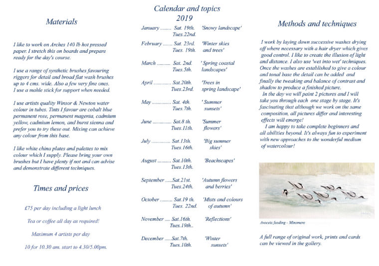 Our Feathered Friends Exhibition Calendar and Leaflet