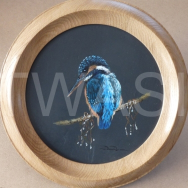 'Fisher King' by David Spencer Acrylic on Welsh Slate Framed 30cms diameter £115