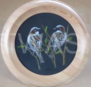 'Friends' by David Spencer Acrylic on Welsh Slate Framed 30cms diameter £115