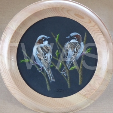 'Friends' by David Spencer Acrylic on Welsh Slate Framed 30cms diameter £115