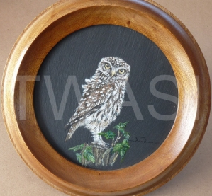 'I SPY...' by David Spencer Acrylic on Welsh Slate Framed 30cms diameter £115