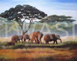 'African Elephants' by Caroline Strong Unframed 41 x 51 Oil £650