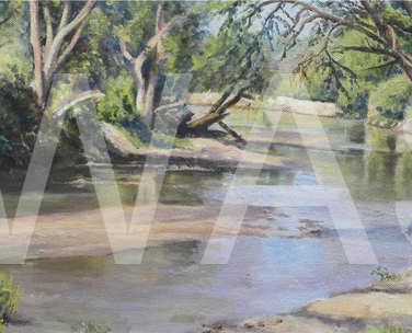 'The Grumeti River' by Christine Smith Acrylic Unframed 20 x 51 £185