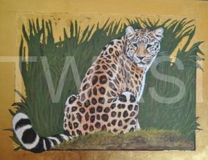 'Amur Leopard' by Helen Rawlings Egg Tempura and Gold Leaf on gesso'd board Framed 32 x 26 £350