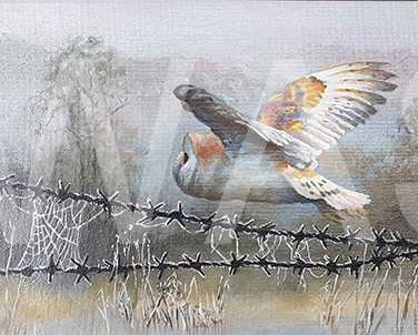 'Over the Wire' by Nicola Moore Framed 25 x 65 Oil on canvas £400