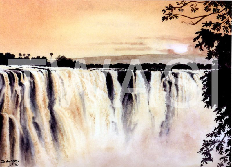 'Early Morning Magic Victoria Falls' by Ruth Baker Walton Watercolour Framed 70 x 53 £150