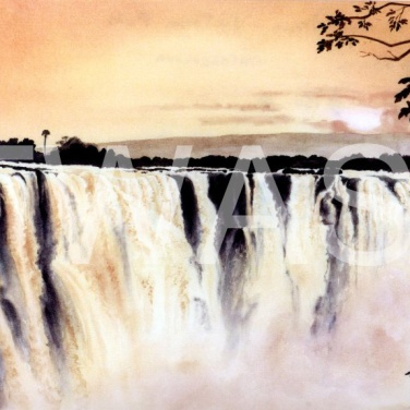 'Early Morning Magic Victoria Falls' by Ruth Baker Walton Watercolour Framed 70 x 53 £150