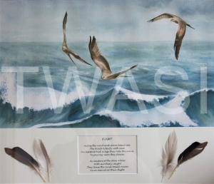 'Flight' by Ruth Baker Walton Watercolour & feather collage Framed size 60 x 50 £150