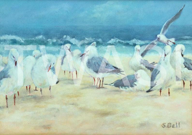 'Bathers on Bondi Beach' by Sandy Bell Acrylic Framed 28 x 38.5 cms Price £225