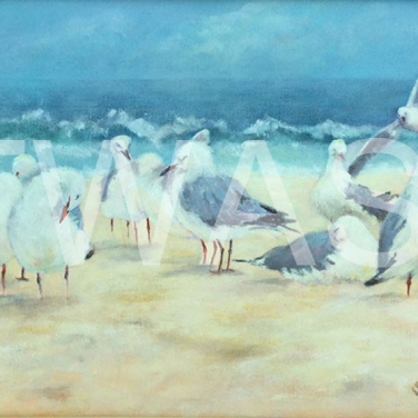 'Bathers on Bondi Beach' by Sandy Bell Acrylic Framed 28 x 38.5 cms Price £225