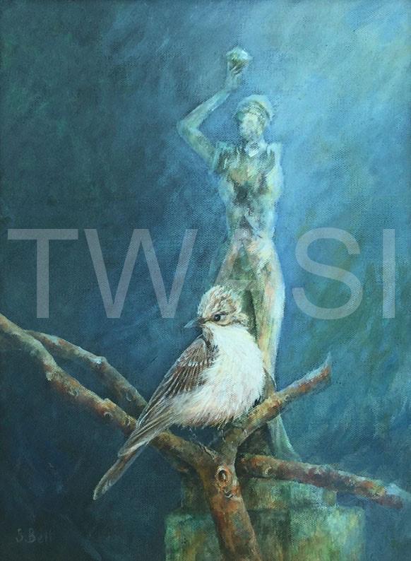 'Flycatcher' by Sandy Bell Acrylic Framed 33.5 x 43.5 cms Price £200