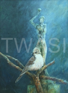 'Flycatcher' by Sandy Bell Acrylic Framed 33.5 x 43.5 cms Price £200