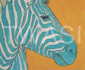'Aqua Zebra' by Stephen Hand Acrylic with glitter Unframed 60 x 50 £40
