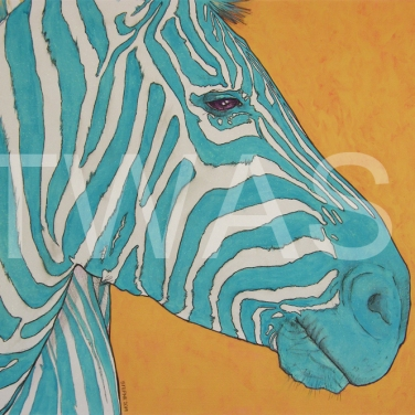 'Aqua Zebra' by Stephen Hand Acrylic with glitter Unframed 60 x 50 £40