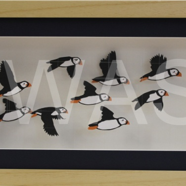 'Atlantic Puffins' by Sarah Trenchard 3D Paper and Wire Framed 47 x 27 x7 £300