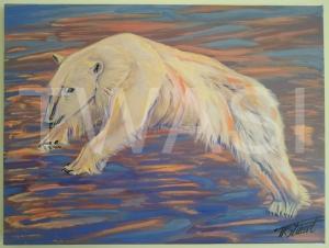 'Polar Stroller' by Tamsin Stuart Acrylic on unframed stretched canvas 40 x 30 £295