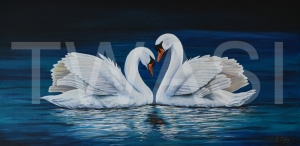 'A Loving Couple' by Christopher Colley Oil on Canvas Unframed 100.4 x 50.2 £845