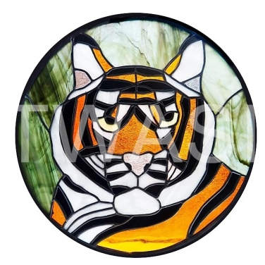 'Tiger' by Dave Wettner Stained Glass 34cm diameter £165