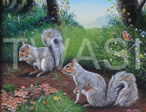 'Squirrels' by Christopher Colley Oil on Canvas Framed 59.7 x 50.2 £585