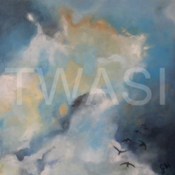 'Into the Storm' by Gemma Waters Oil on board 44 x 44 £225