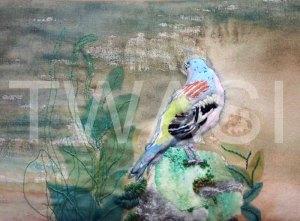 'Bachelor Finch' by Helen Miller Textiles and Watercolour Unframed 31.5 x 21.5 £200