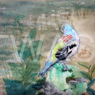 'Bachelor Finch' by Helen Miller Textiles and Watercolour Unframed 31.5 x 21.5 £200