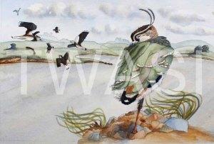'Flying in Fear' by Helen Miller Watercolour Framed 53 x 42.5 £250