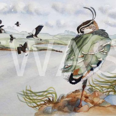 'Flying in Fear' by Helen Miller Watercolour Framed 53 x 42.5 £250