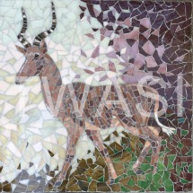 'Hirola Antelope' by Emma Abel Unframed 55 x 43 Mosaic in marble, stained glass, and ceramic, vitreous and foil glass £395