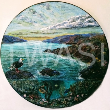 'Ocular Seascape' by Roy Emmins Medium relief carvings with mixed media 59 m diameter £650