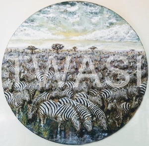 'Zebra Interfusion' by Roy Emmins Medium relief carvings with mixed media 59 cm diameter £650