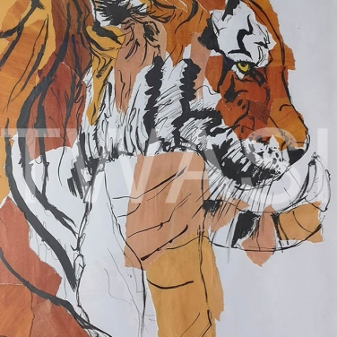 'Tiger Unrest' by Russell Vernalls Collage and Indian ink Framed 80 x 59.5 £255