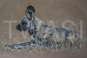 'Resting Up' by Yvonne Lamden Cooper Pastel and Gold Leaf Framed 77 x 52 £950