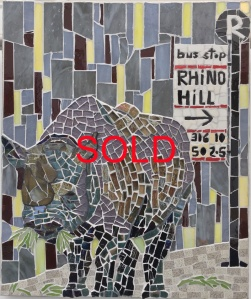 'Black Rhino Satire' by Emma Abel Unframed 43 x 35 Mosaic in glass, ceramic, stained glass £266