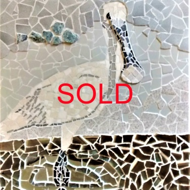'Juvenile Spoonbill' by Emma Abel Ceramic, mirror glass, marble, granite Unframed 58 x 47 £449
