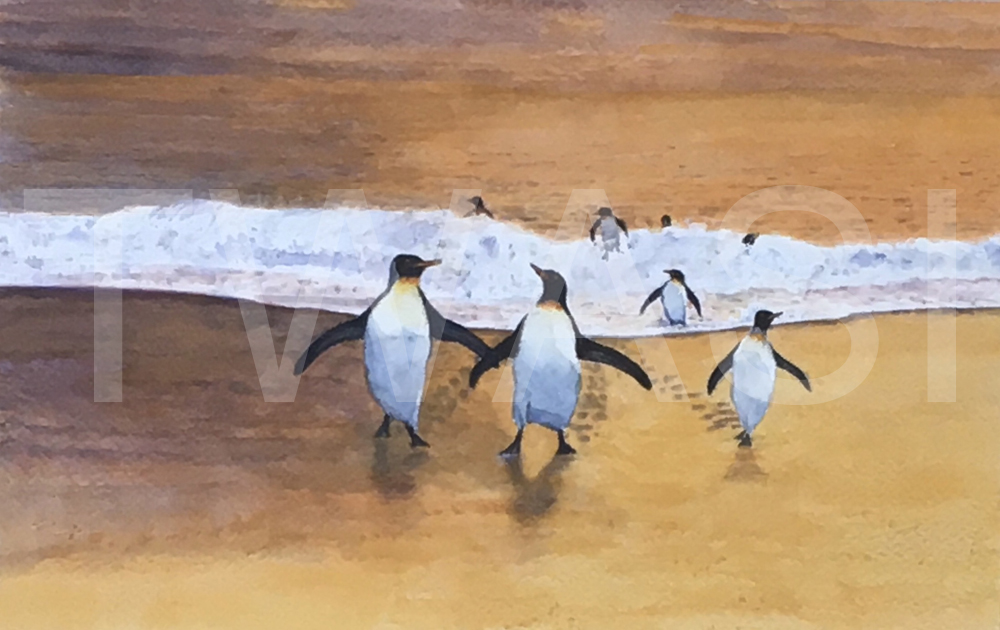 'Beach Arrivals' by Jacqui Franks Watercolour Framed 47 x 37 cms £300
