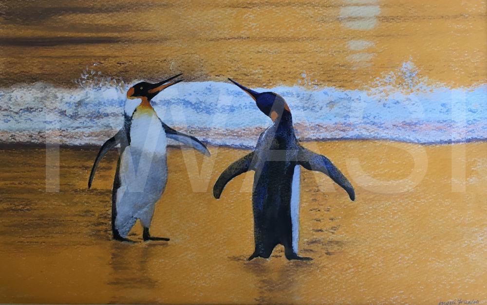 'Beach Dancers' by Jacqui Franks Pastel Framed 47 x 37 cms £300