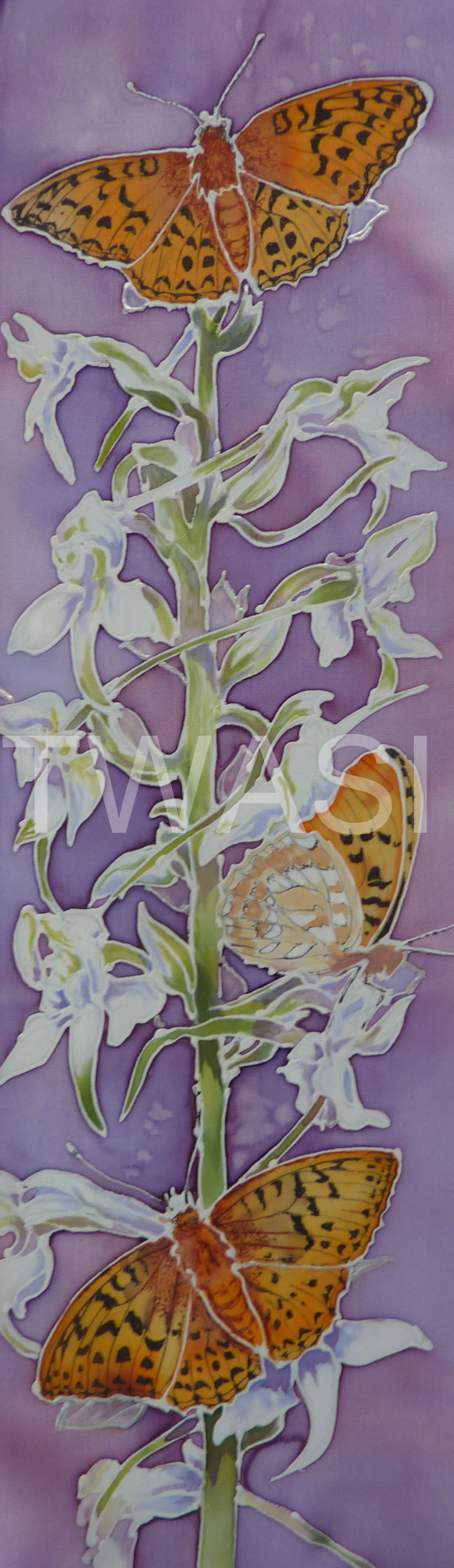 'Butterfly Orchid' by Jackie Cox Silk painting 14.5x46 cms £120