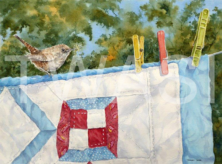 'On the Washing Line' by Linda Travers Smith Watercolour 38x35 cms £135