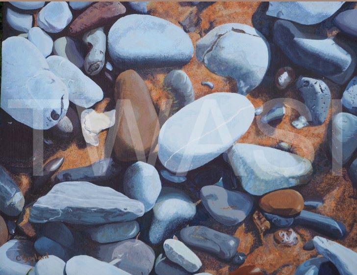 'Sunlit Shore' by Carole H Gaylard Acrylic 66x57cm Framed £470 59x49cm unframed £410
