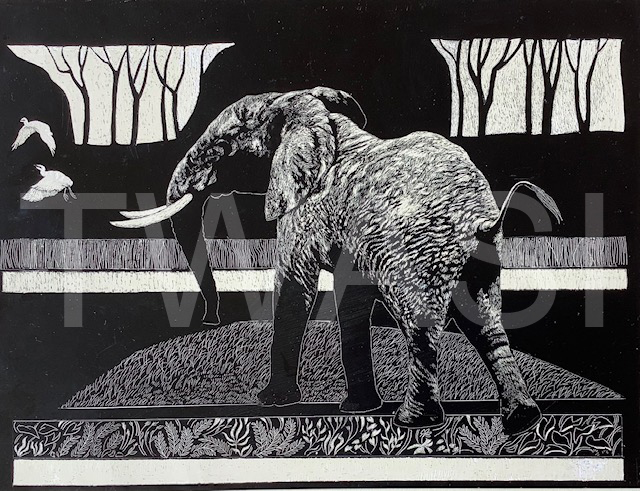 'Clear the way' by George Yiend Scraperboard 30.5 x 23 £130
