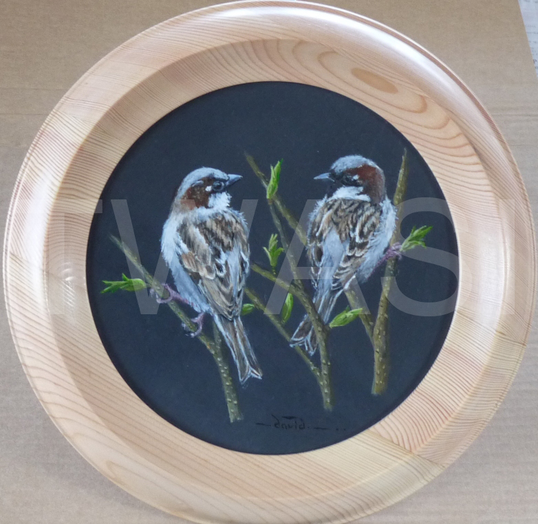 'Gossiping' by David Spencer Acrylic on Welsh Slate Framed 30 cms £105