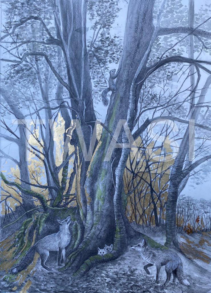 'Sunset Escape' by Victoria Parsons Graphite & Gold Leaf 60cm x 70cm £400
