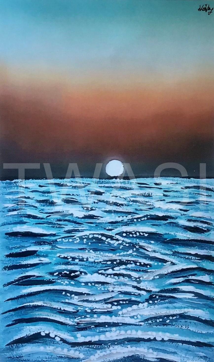 Sunset Seascape by Muhammad Esmail Veshmia (Junior Member) print only available Gouache 21 x 15 cms £10 muhammadvesh086@gmail.com https://www.instagram.com/mevartistry/
