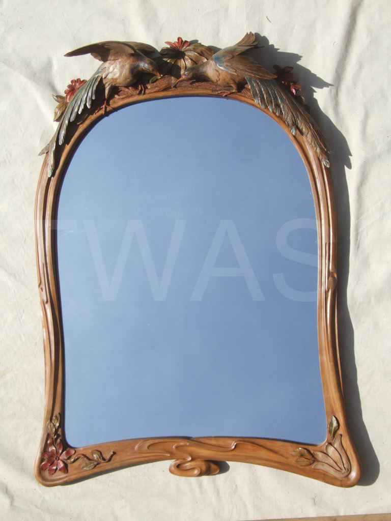 'Red Billed and Blue Magpies' by Julian Stanley Boxwood Carved Mirror Frame 86 x 31 cms £2650